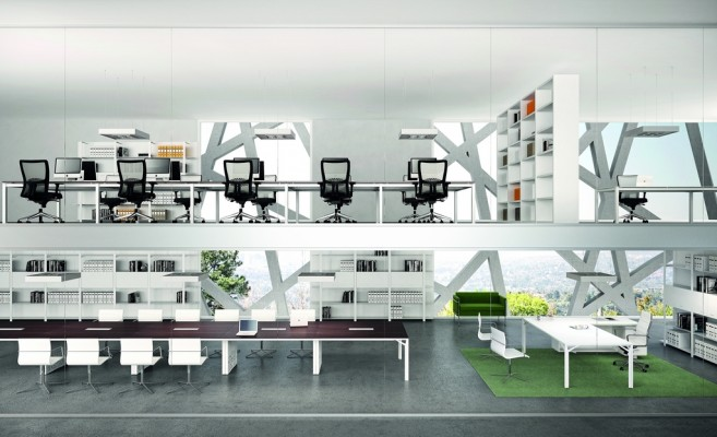 Espace de travail quadrifoglio for Mobilier bureau quadrifoglio