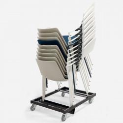 Chariot de transport pour chaise de formation avec tablette écritoire