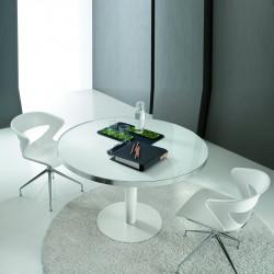 Table de réunion ronde en verre VEDACI