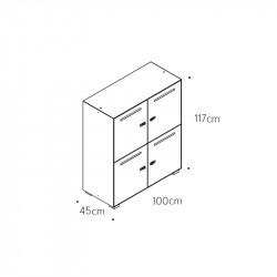 Casier en métal 4 cases avec fente - LOCK
