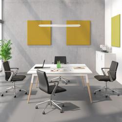 Table de réunion carrée avec pieds bois et métal