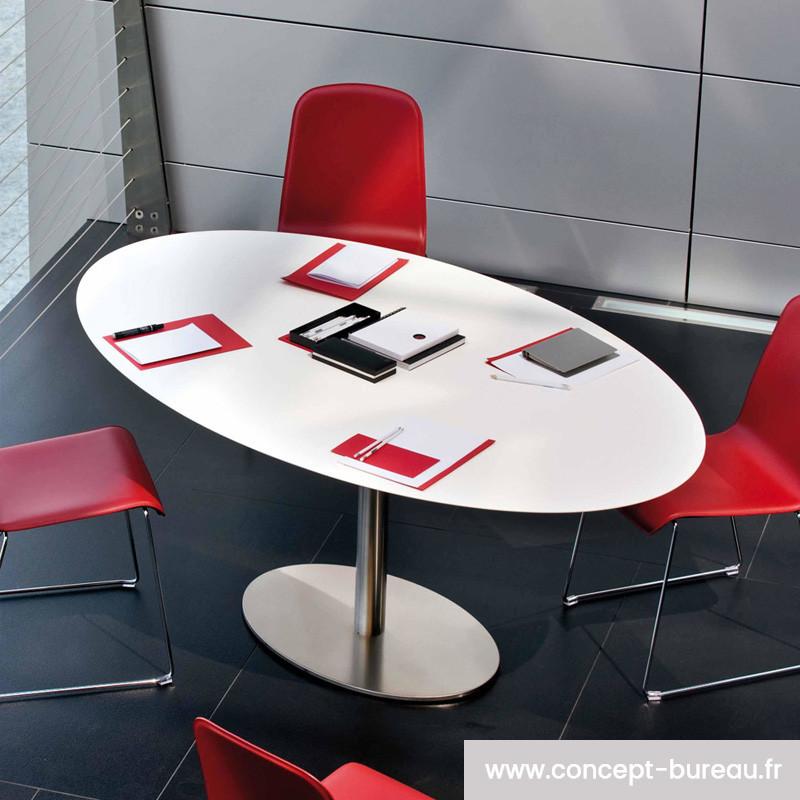 Table de réunion en bois stratifié INOX ELLITTICO