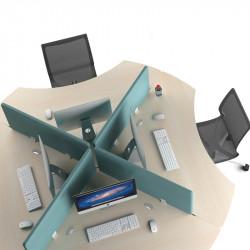 4 postes symétriques avec cloisonnettes COWORK