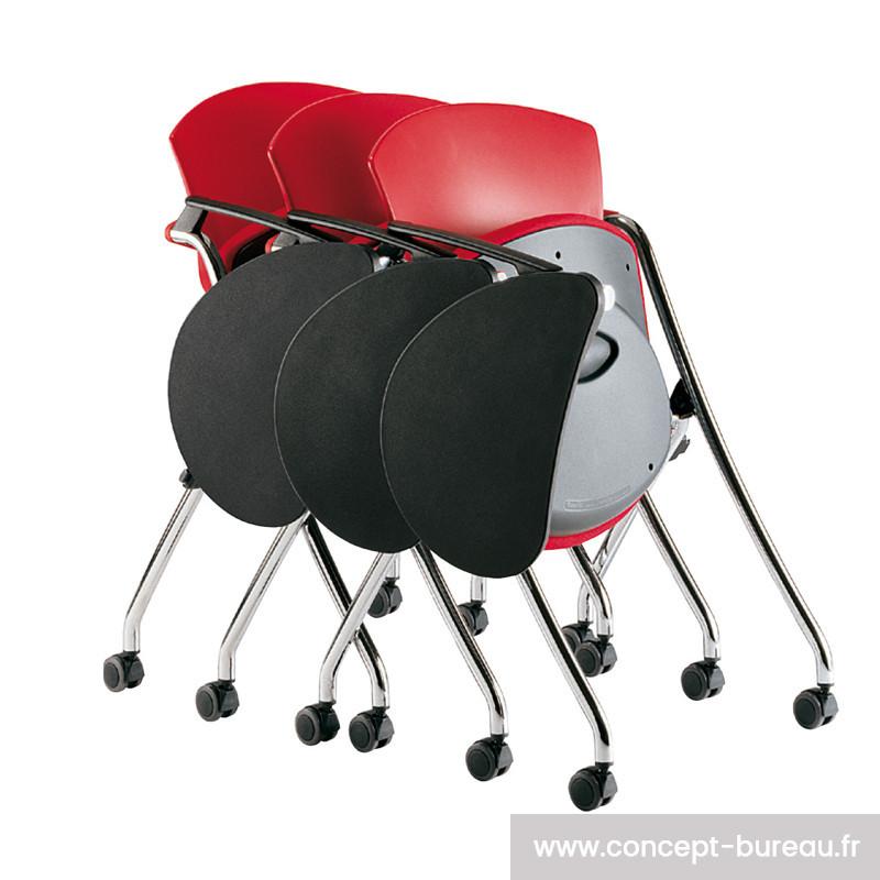 Chaise 4 pieds sur roulettes avec tablette ROLLGO