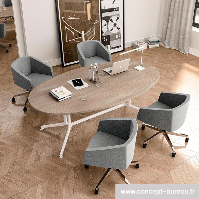 Table de réunion ovale pour 8 personnes