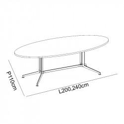 Table de réunion ovale MORGANE