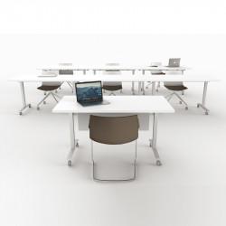 Table de réunion rabattable sur roulettes