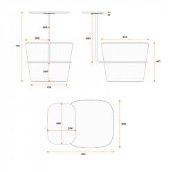 Pouf avec tablette écritoire design - TEAM