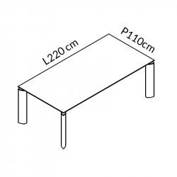 Table de réunion noir 8 personnes - STARLY