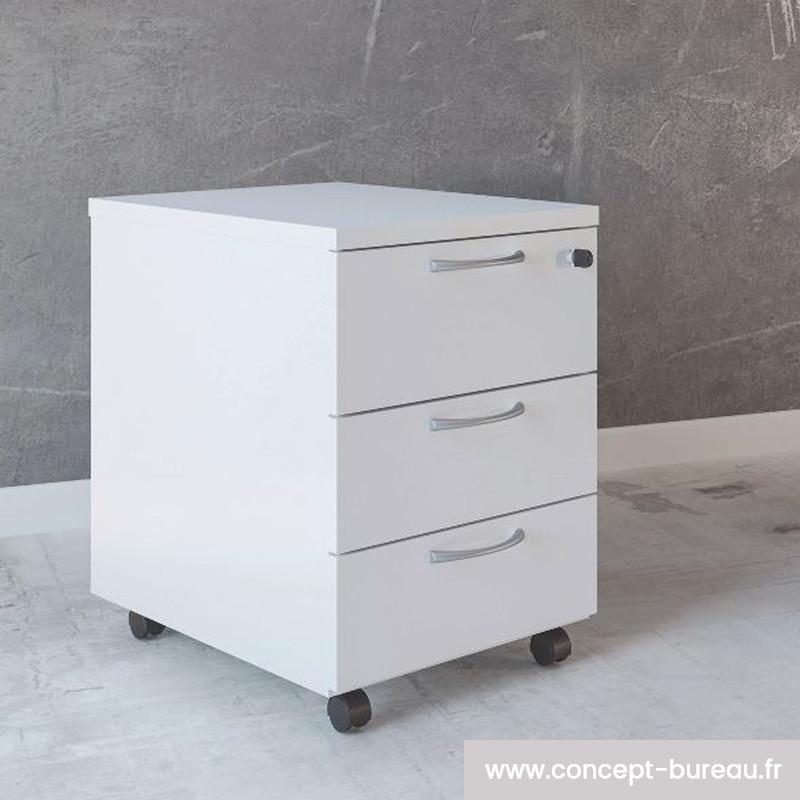 Caisson mobile de rangement 3 tiroirs plats BOSC
