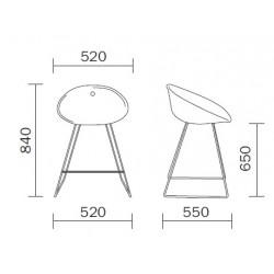 Dimensions du tabouret haut de bar GLISS
