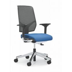 Fauteuil de travail Dos résille GIROFLEX 68 assise tissu bleu attention piétement chromé sur la photo non vendu sur le site