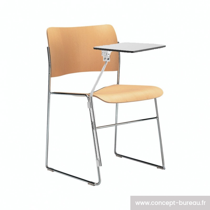 Chaise avec tablette écritoire empilable par 20 au sol
