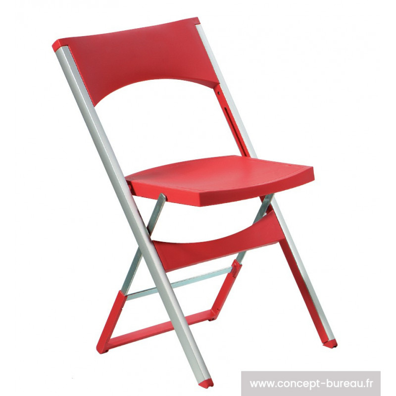 Chaise pliante Compact coloris rouge