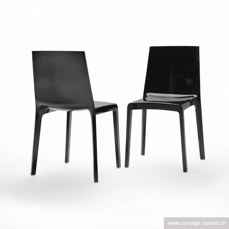 Lot de 2 chaises en polypropylène EVELINE coloris solide finition noir