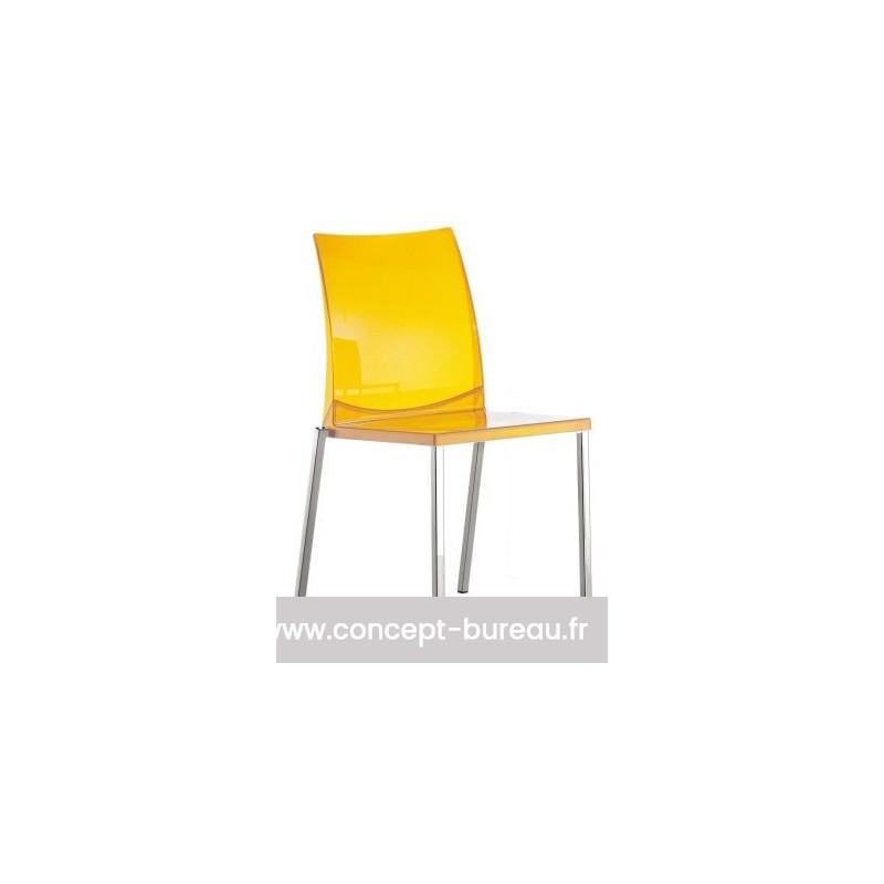 Lot de 2 Chaises en polypro KUADRA coloris jaune