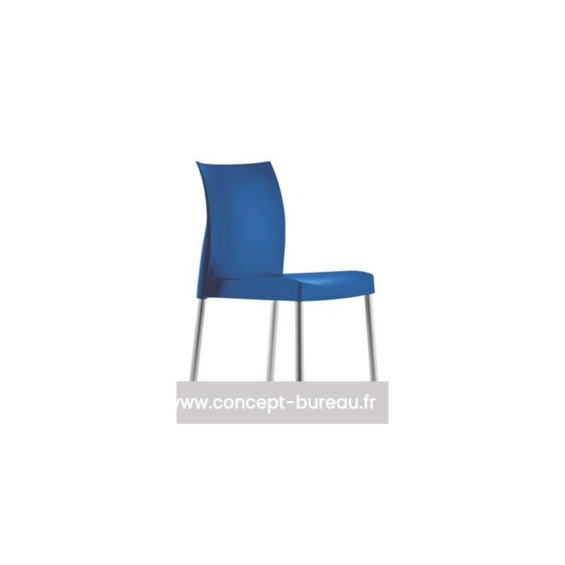 Lot de 4 chaises avec coque en polypro ICE coloris bleu