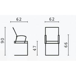 Plan de dimensions du siège visiteur.