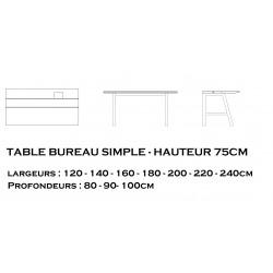 Bureau simple hauteur 75cm GAÏA