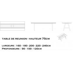 table de réunion hauteur 75cm GAÏA