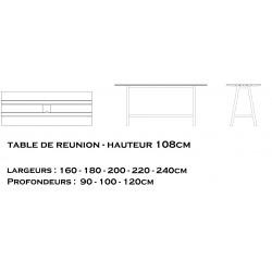 Table de réunion design GAÏA hauteur 108cm