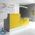 Banque d'accueil design avec poste pour personne à mobilité réduite