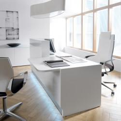 Comptoir d'accueil design blanc avec LED