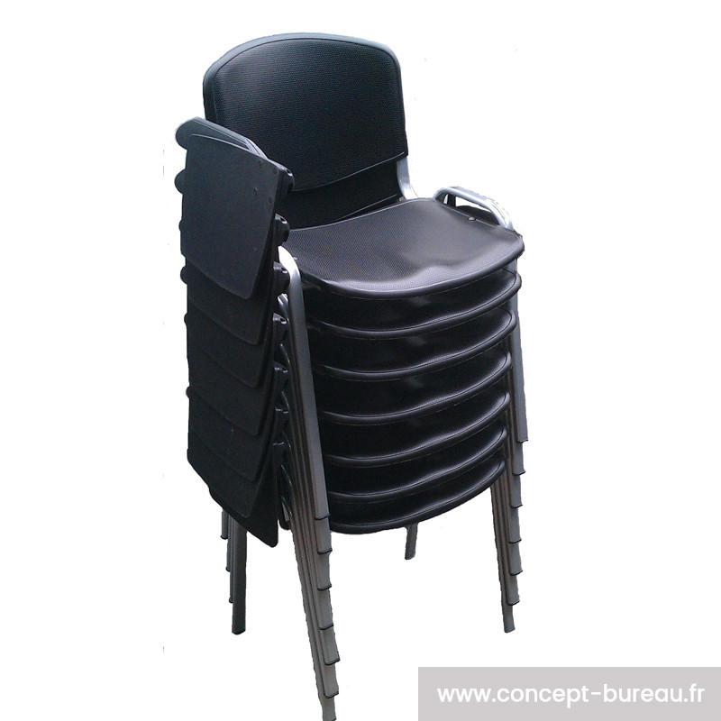 Chaise avec tablette écritoire empilable