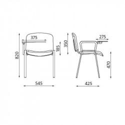 Lot de 4 chaises avec tablette écritoire CLASSIC