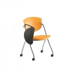 Chaise à roulettes avec tablette écritoire rabattable