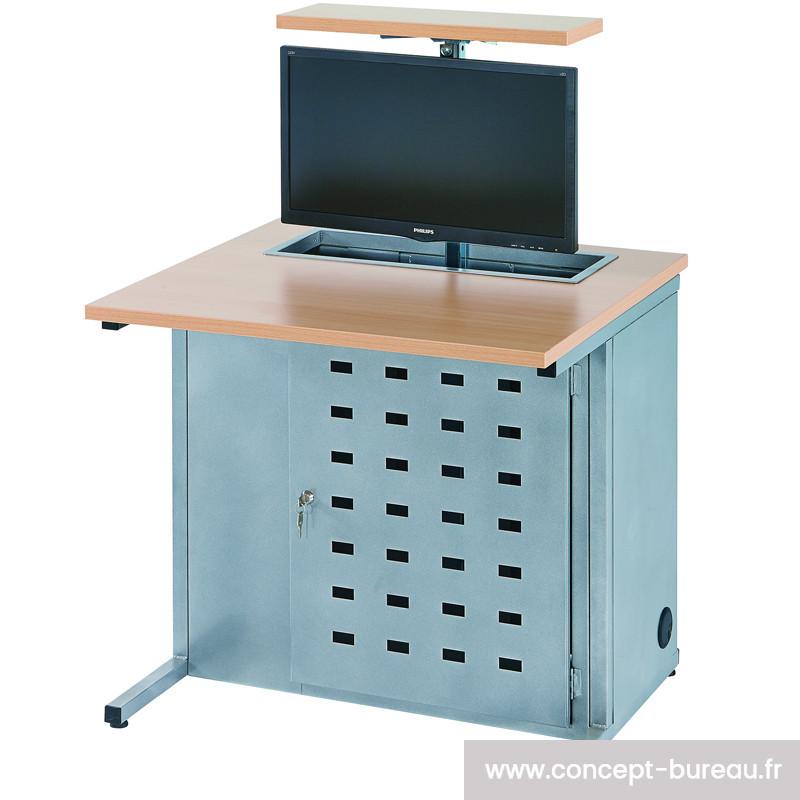 Table informatique avec un rangement d'écran