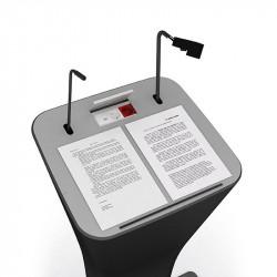 Pupitre de conférence avec micro, lampe et porte documents