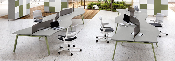 Bureaux bench pour 4 personnes, bureaux design pour open space