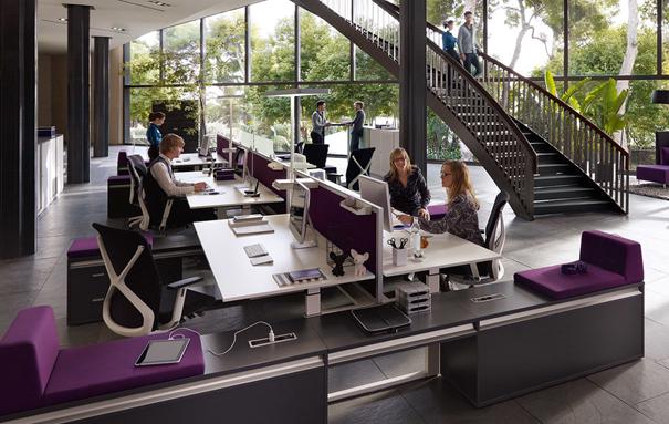 bureau open space réglable en hauteur