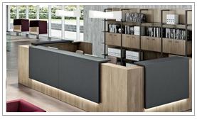 Banque d'accueil design pour hall d'entreprise