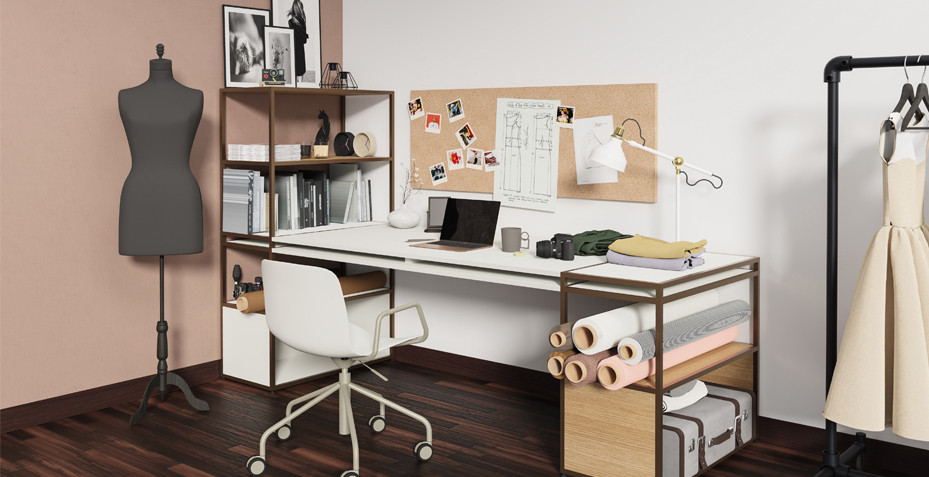 home office, bureau, design; teletraval