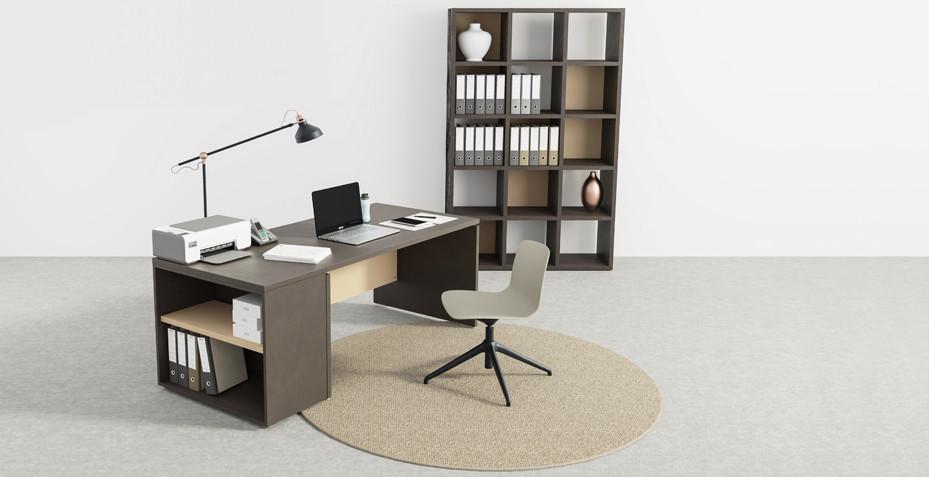 espace télétravail, bureau de direction, rangement, bibliothèque