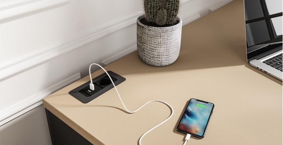 bureau télétravail, design, multiprise, USB, HDMI