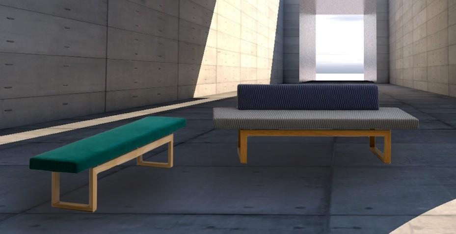 Avec ou sans dossier l'alliage du bois et du tissu de notre banc design rendez-vous vous garantie confort et esthétique